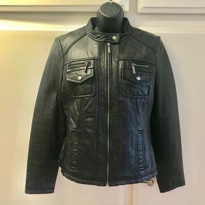 EUC MICHAEL Michael Kors leather motto jacket